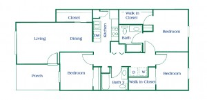 Three Bedroom Apartment Floor Plan