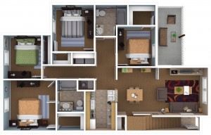 Four Bedroom Apartment Floor Plan