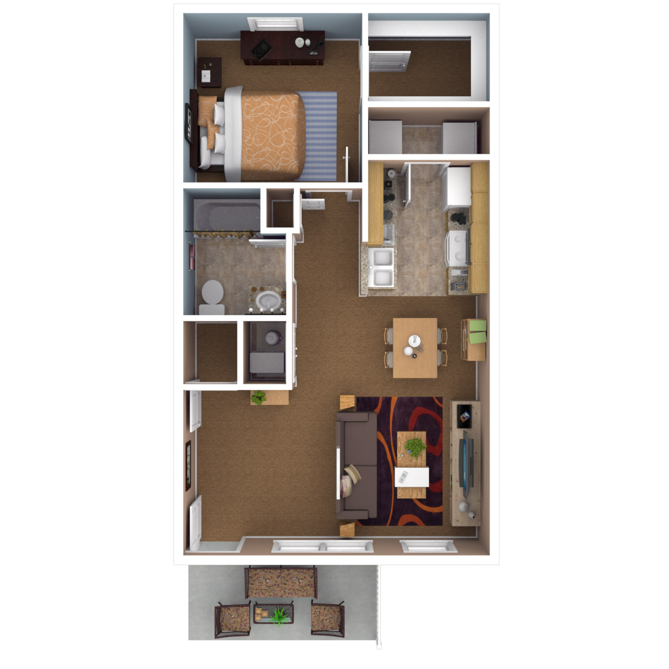 One Bedroom Floor Plan 1 Apartment