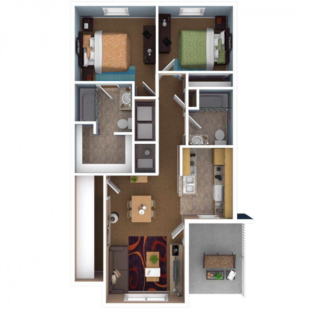Apartments in indianapolis floor plans for Two bedroom apartment design