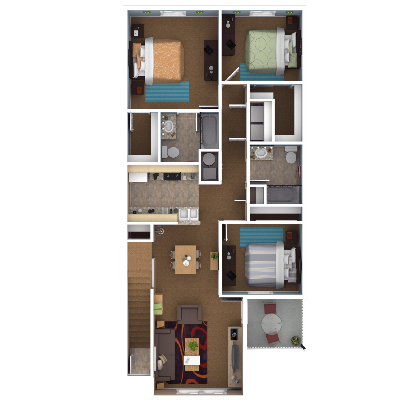 Apartments in indianapolis floor plans for Three bed