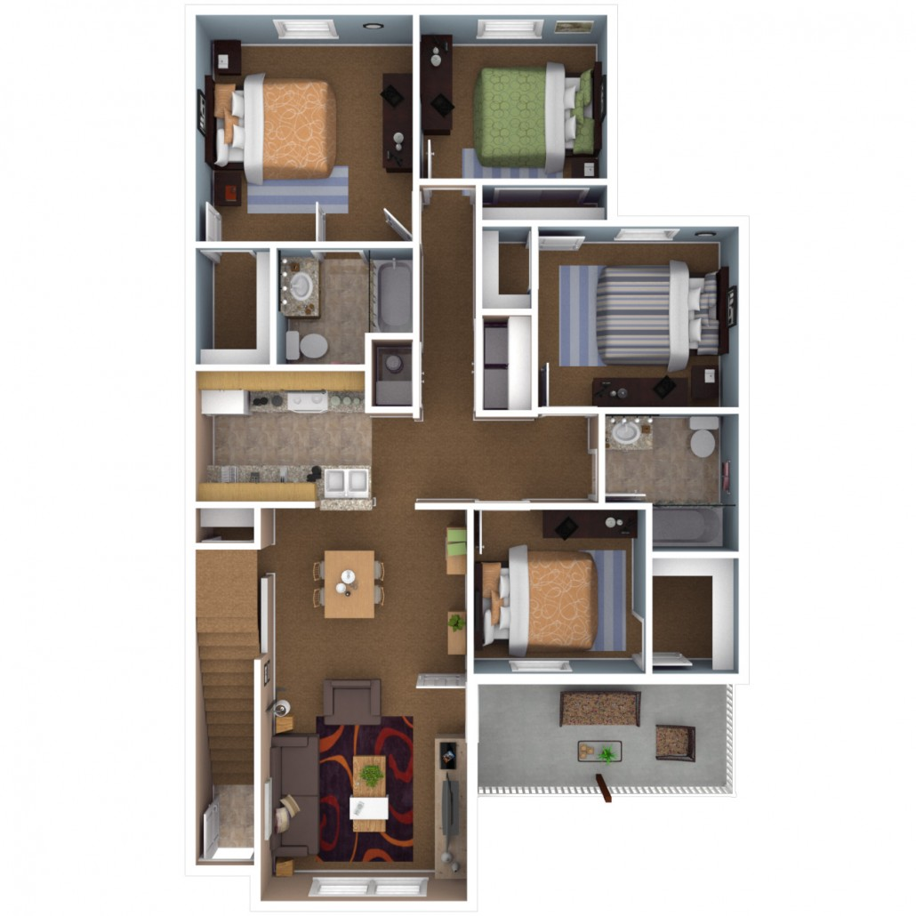 Apartments in indianapolis floor plans for Four bedroom flat