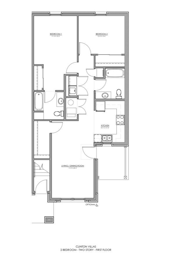 Two Bedroom Floor Plan. Meadow Park Two Bedroom Apartment