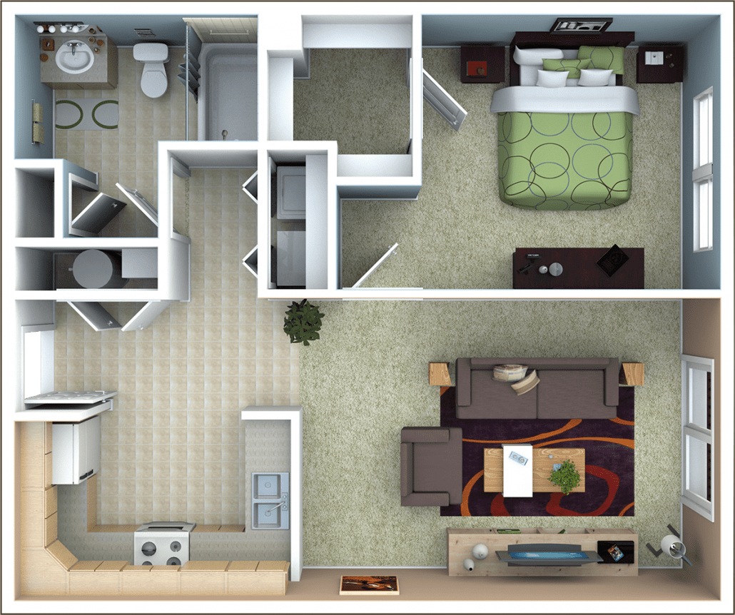 1 Bedroom Home Designs Part - 41: 1 Bedroom Apartment Floor Plan