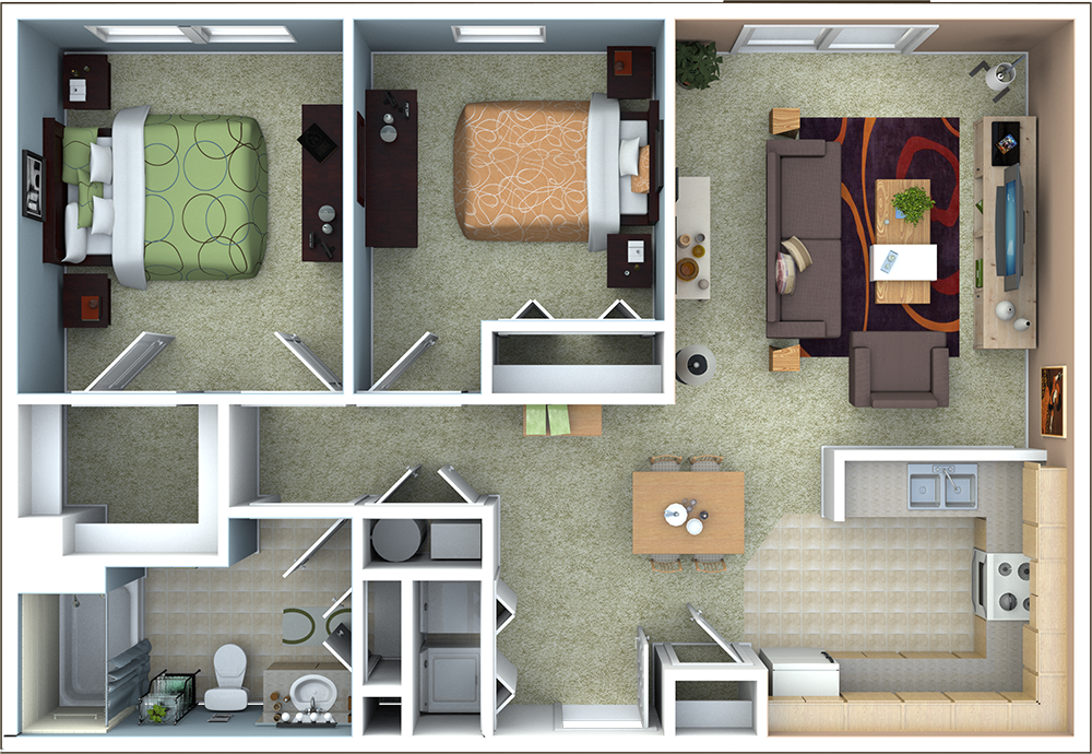 Two Bedroom Floor Plans | Richmond Apartments Floor Plans