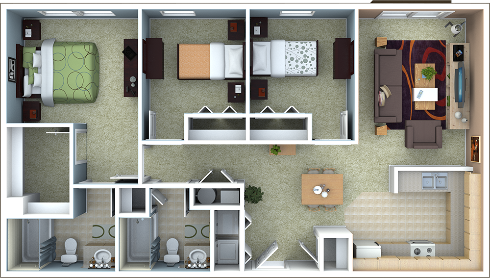 Attractive 3 Bedroom Apartment Floor Plan