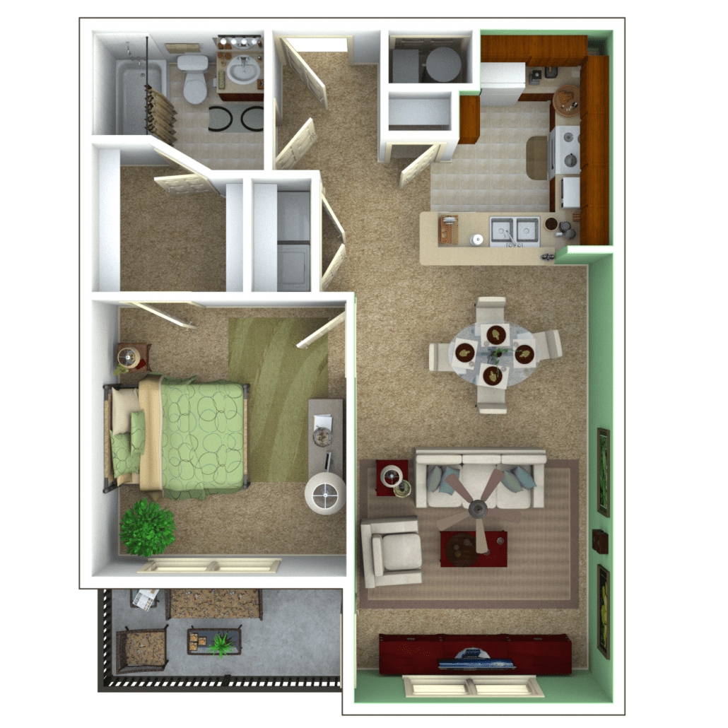 Great 1 Bedroom Apartment Floor Plan (Escape)