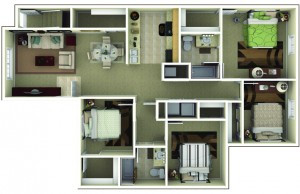 4 Bedroom Apartment Floor Plan