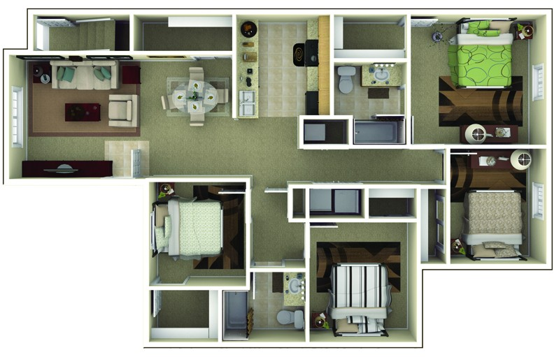 Apartments in brownsburg indiana floor plans for Four bedroom apartments