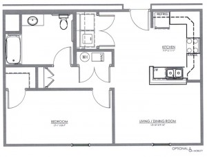 1 Bedroom Apartment Floor Plan (The Maple)