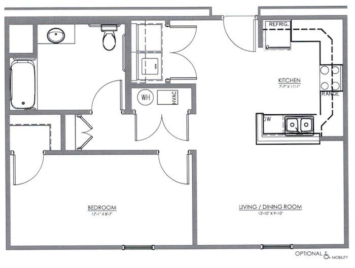 1 Bedroom Apartment Floor Plan (The Maple)